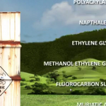 a barrel labelled toxic; names of frac chemicals in front of a landscape